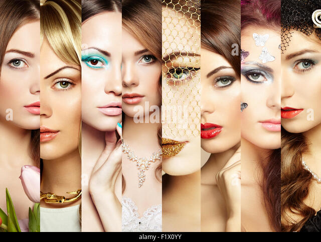 Beauty collage. Faces of women. Fashion photo - Stock Image