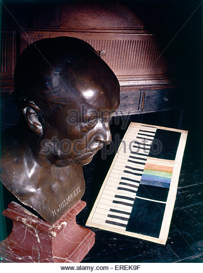 Bust of Hermann von Helmholtz, German  physician and physicist with table of colours (1821 –  1894). - Stock Image