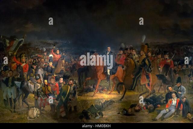 Battle of Waterloo, by Jan Willem Pieneman, 1824, oil on canvas, Rijksmuseum, Amsterdam, Netherlands, Europe, - Stock Image