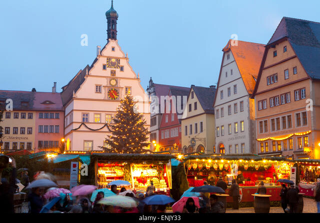 Christmas Market, Rothenburg ob der Tauber, Bavaria, Germany, Europe - Stock Image