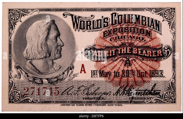 Christopher Columbus Engraving, Ticket to World's Columbian Exposition, Chicago, Illinois, 1893 - Stock Image