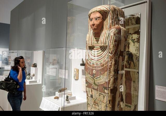 Florida FL Tampa Waterfront Arts District Tampa Museum of Art inside artwork Anthropoid Sarcophagus of Shesep-Amun - Stock-Bilder