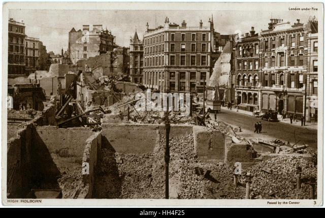 WW2 - London Under Fire. Bomb-damaged buildings on High Holborn. - Stock Image