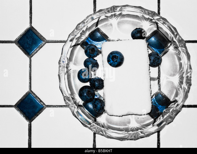 Sorbet With Blueberries Close up - Stock Image