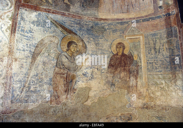 The Annunciation. Artist: Ancient Russian frescos - Stock Image