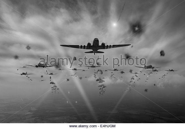 RAF Dakota aircraft kicked off the D-Day invasion of Nazi-occupied Europe by dropping paratroops early on 6 June - Stock Image