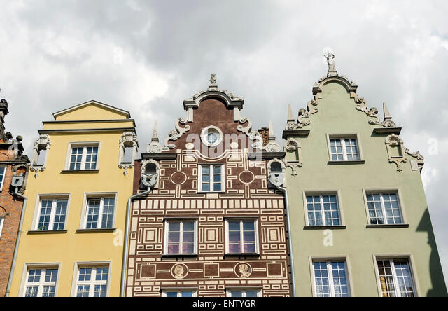 Old Town Architecture Gdansk Poland showing several styles of tenement houses with gabled roofs - Stock-Bilder