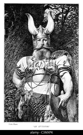 Viking, engraving by Carl Haag of an Ancestor from Denmark, splendidly attired in the full costume of the Nordic - Stock-Bilder