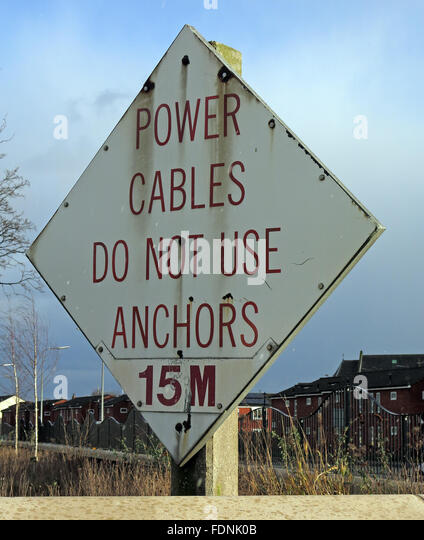 Power Cables Do Not Use anchors 15M sign,River Mersey,Warrington,Cheshire,England, UK - Stock Image