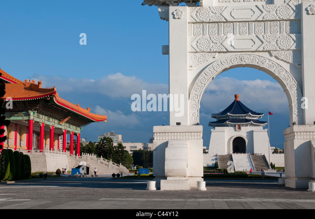 Asia, Taiwan, Taipei, RoC, China, city, capital, Chiang Kai Shek, memorial, hall, daytime, sunny, landmark, Kuomintang, - Stock Image