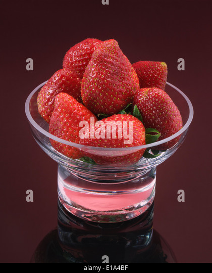 Fresh Strawberries in Glass Dish - Stock Image
