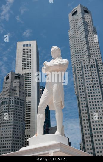 Sir Raffles statue, Singapore - Stock Image