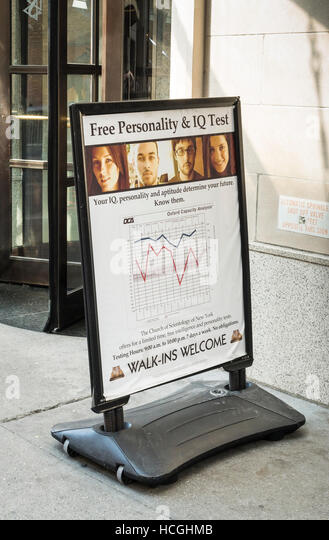 Advertising board outside the Church of Scientology in New York, advertising personality and IQ tests - Stock Image