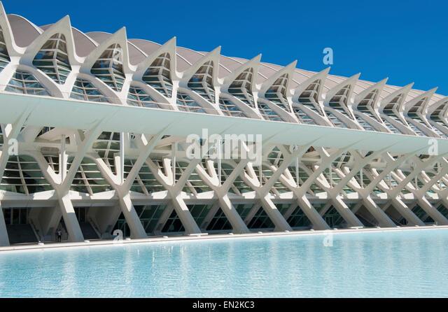 Science Museum Prince Philip The City of Arts and Sciences of Valencia Turia Garden  Designed  Santiago Calatrava - Stock Image