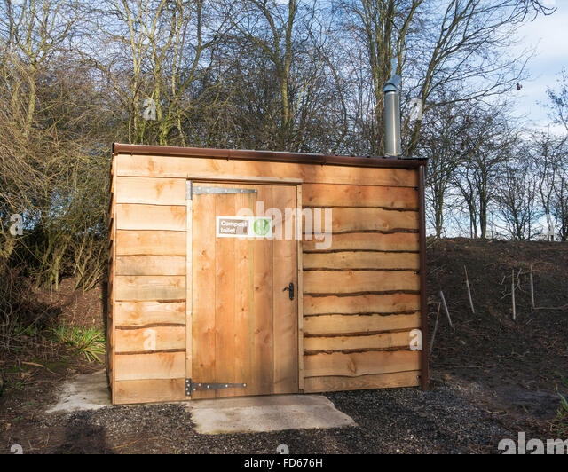 An environmentally friendly composting toilet, seen at the Washington Wetland Centre, north east England UK - Stock Image