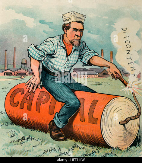 Labor's idea of elevating itself.  Political Cartoon shows a man labeled 'Labor' sitting on a huge firecracker - Stock Image