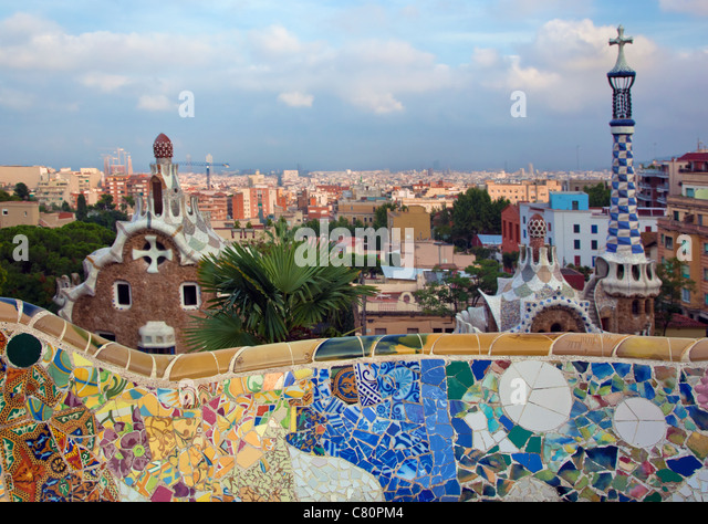 Park Guell, view over Barcelona, Spain - Stock Image