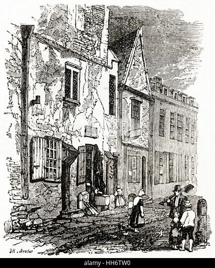 1800 S Colonial Scene On Demand: Engraving 1800s Street Scene Stock Photos & Engraving