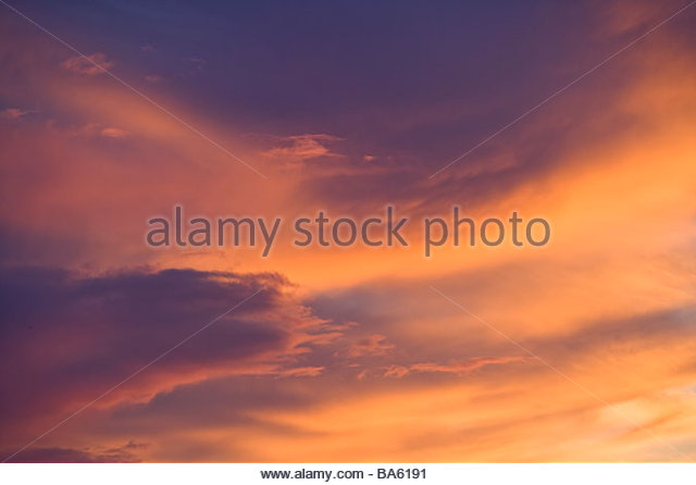 Colorful cloud mass in sky - Stock Image