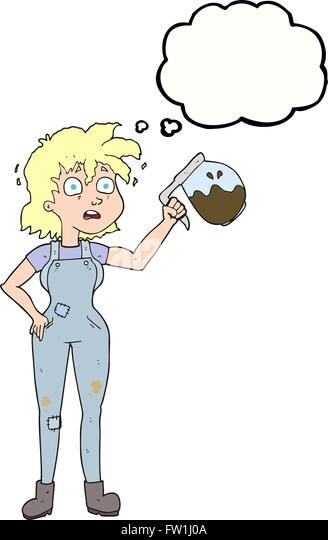 too much coffee freehand drawn thought bubble cartoon - Stock Image