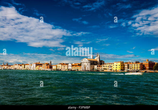 Giudecca Canal, Venice, Italy weather. 11th October 2015. A sunny day in Venice temperatures around 17 centigrade. - Stock Image