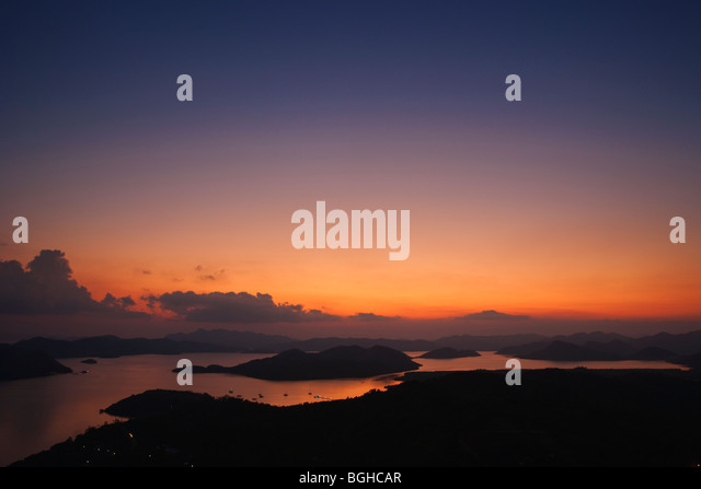 Sunset from Mount Tapyas; Coron Town; Busuanga Island; Philippines - Stock Image