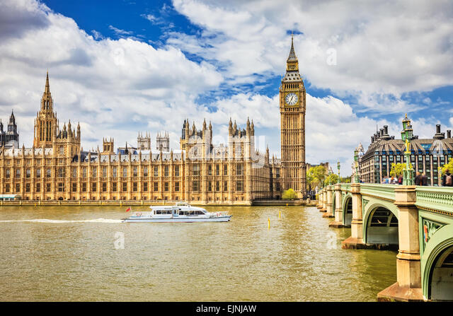 Big Ben and Houses of parliament in London - Stock Image