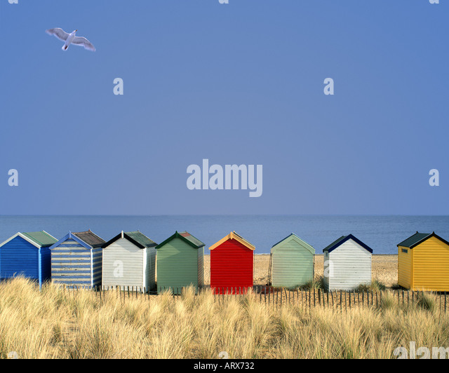 GB - SUFFOLK: Traditional beach huts at Southwold - Stock Image