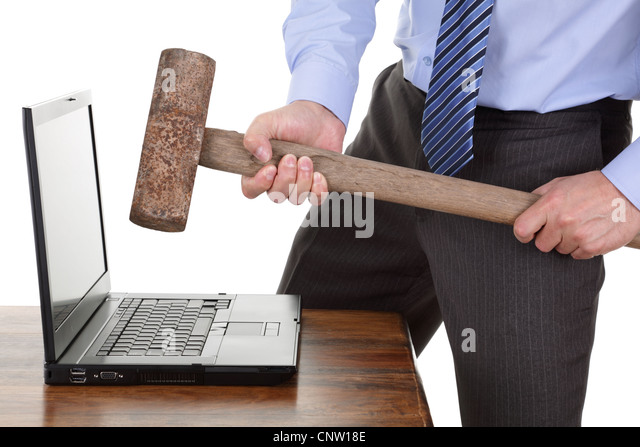 Computer frustration - Stock Image