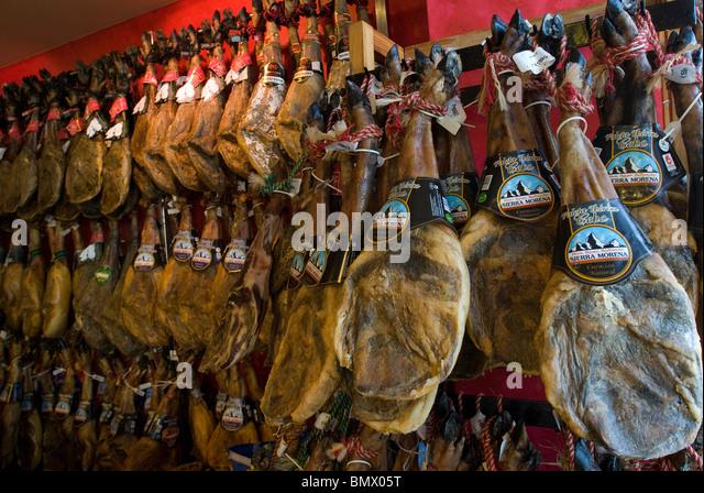 Cured Hams for sale, Mahon, Menorca, Balearics, Spain - Stock Image