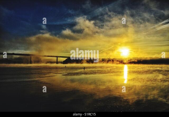 A Misty Sunrise on the Western Cleddau - Stock Image
