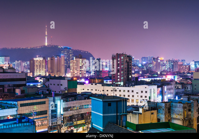 Seoul, South Korea skyline with Seoul Tower. - Stock Image