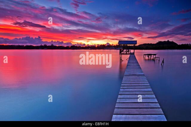 Malaysia, Tuaran Sabah, Sunset over Gayang village - Stock Image