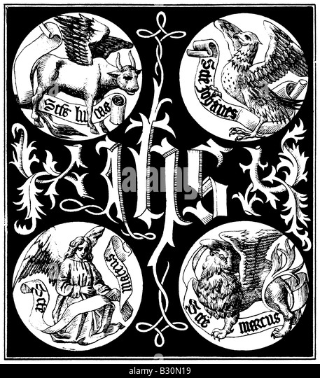 Sacred Monogram and Badges of the Apostles: an engraving from 1845 reproducing an image from a 1495 book. - Stock Image