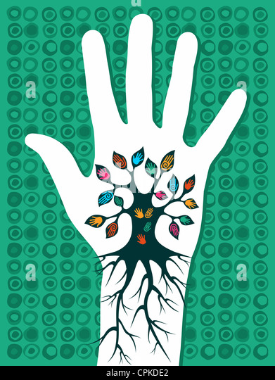 Go green concept tree in hand with roots as veins. Vector file layered for easy manipulation and custom coloring. - Stock Image
