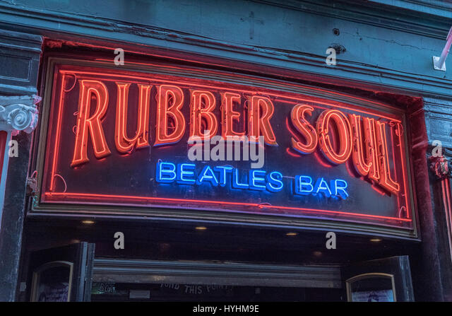 The Rubber Soul bar sign in Mathew street Liverpool the birthplace of the Beatles. - Stock Image