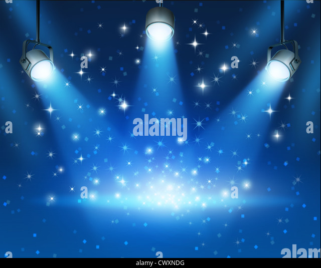 Magical blue abstract image of concert lighting against a dark glowing background Illustration with shiny sparkles - Stock Image