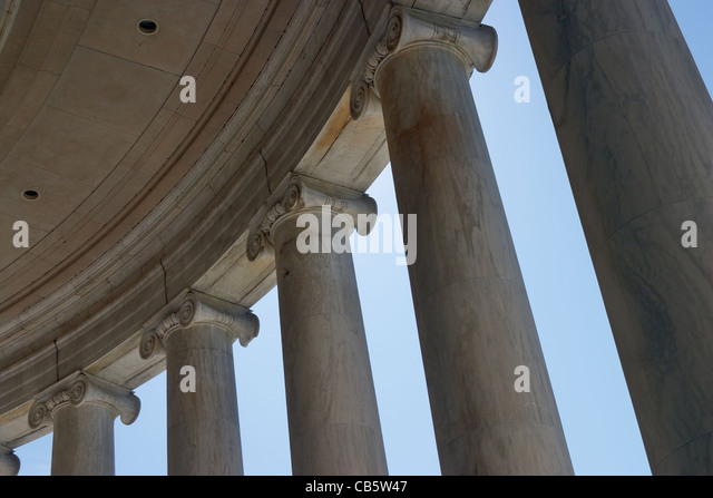 Looking up the columns of the Jefferson Memorial, Washington, DC. - Stock Image