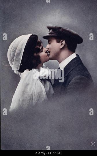 Vintage Valentine Day Card - Stock Image