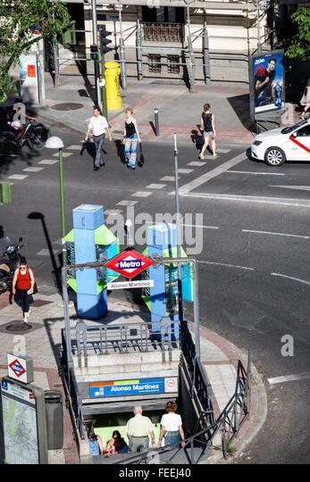 Madrid Spain Europe Spanish Hispanic Chamberi Plaza Alonzo Martinez Metro entrance subway public transportation - Stock Image