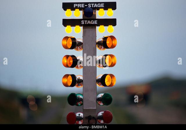Drag racing starting 'Christmas lights' - Stock Image