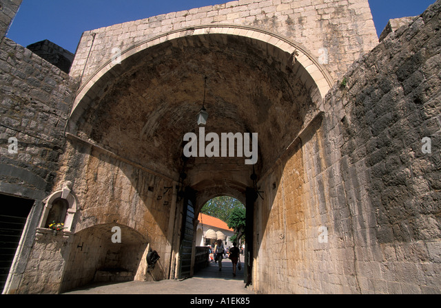 Dubrovnik Croatia Old Town Walled City Pile Gate - Stock Image