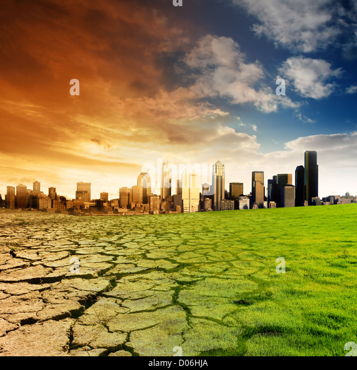 Effect of Global Warming on a city - Stock Image