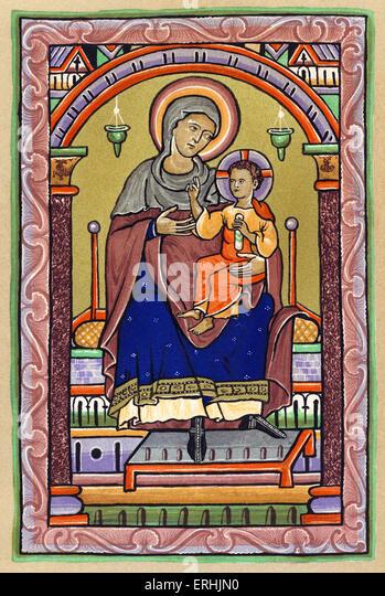 The Virgin and Child. 13th century. Illumination. - Stock Image