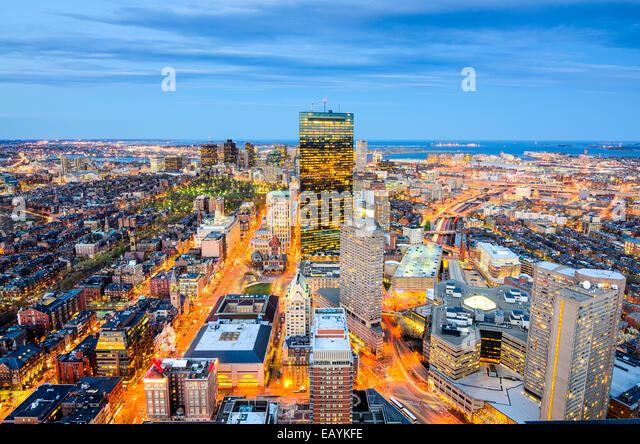 Boston, Massachusetts, USA aerial view of the downtown cityscape. - Stock Image