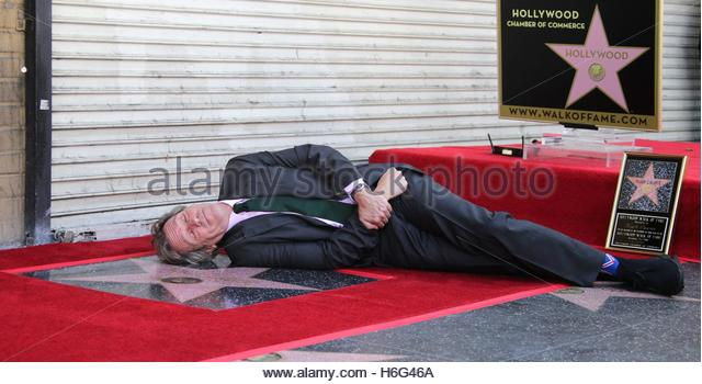 epaselect epa05602781 British actor Hugh Laurie pretends to sleep on his star during a ceremony honoring him on - Stock Image