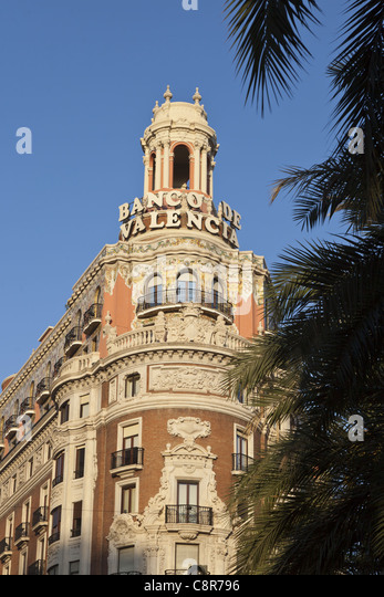 Banco de Valencia building, art deco, Valencia, Spain - Stock-Bilder