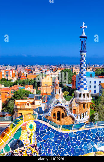park Guell by Gaudi, Barcelona - Stock Image