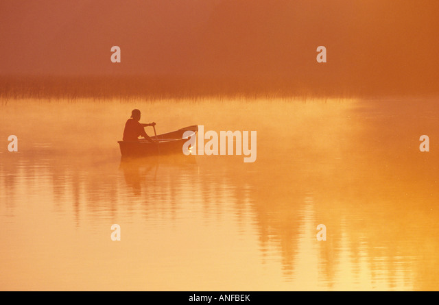 Canoeing on childs lake, duck mountain provincial park, manitoba, Canada. - Stock Image
