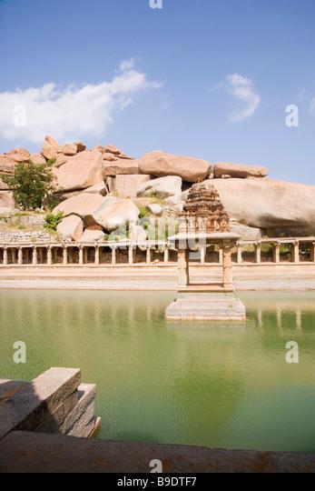Ruins of a bazaar, Krishna Bazaar, Hampi, Karnataka, India - Stock Image